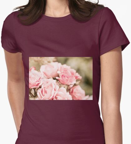 Vintage roses bouquet sepia toned Womens Fitted T-Shirt