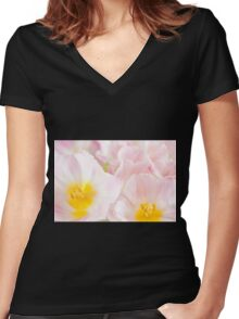 Subtle pink tulip macro inside Women's Fitted V-Neck T-Shirt