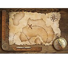 Compass and Map Photographic Print