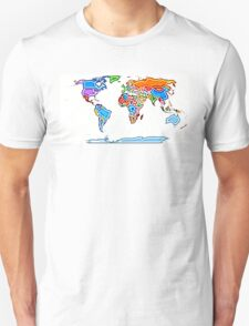 Painting Style Colored World Map T-Shirt