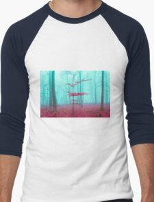 Mystical forest in red and turquoise Men's Baseball ¾ T-Shirt