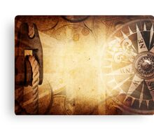 Compass and Map Metal Print