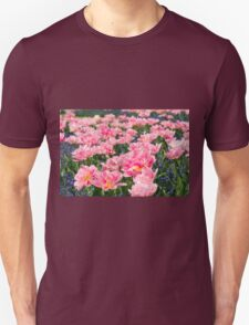 Blue forget-me-nots with pink tulips Unisex T-Shirt