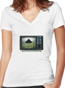 Danger Television Women's Fitted V-Neck T-Shirt