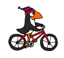 Funny Penguin Riding a Red Bicycle Photographic Print
