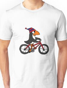 Funny Penguin Riding a Red Bicycle Unisex T-Shirt