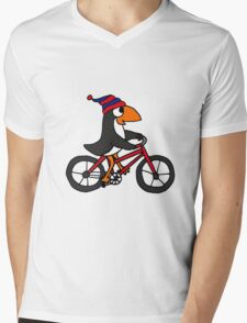 Funny Penguin Riding a Red Bicycle Mens V-Neck T-Shirt