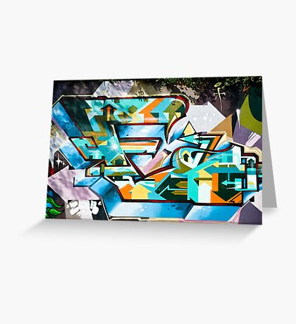 Abstract Colorful Graffiti on the textured wall Greeting Card