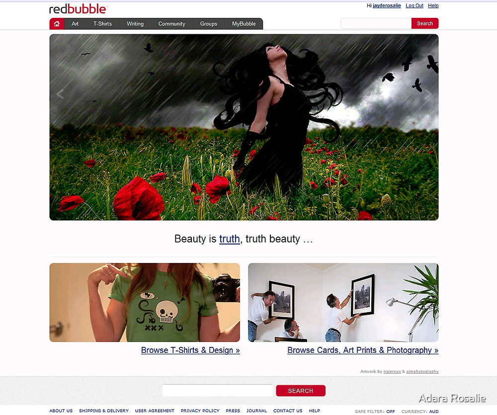 RedBubble Home Page Feature 30/9/2010 by Adara Rosalie