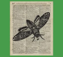 Moth Insect,Fly over Dictionary Page Kids Tee
