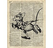 Running Mouse Over Old Book Page Photographic Print