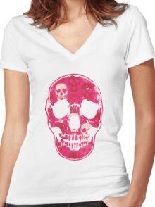 Saccharine Skulls Women's Fitted V-Neck T-Shirt