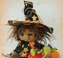 Happy Halloween from Eenie the Witchy Bear - Handmade bears from Teddy Bear Orphans by Penny Bonser