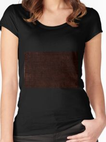 Dark brown striped parchment abstract Women's Fitted Scoop T-Shirt