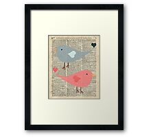 Cartoon Birds in love over encyclopedia page Framed Print