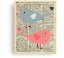 Cartoon Birds in love over encyclopedia page Canvas Print