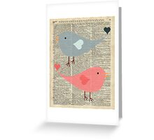 Cartoon Birds in love over encyclopedia page Greeting Card