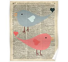 Cartoon Birds in love over encyclopedia page Poster