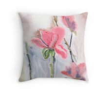 Wet on wet flowers Throw Pillow