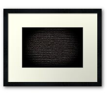 Black knitted fabric texture  Framed Print