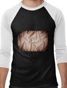 Beige glossy crumpled satin surface  Men's Baseball ¾ T-Shirt