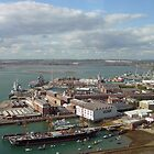 Portsmouth's Historic Dockyards from Spinnaker Tower, southern England. by Philip Mitchell