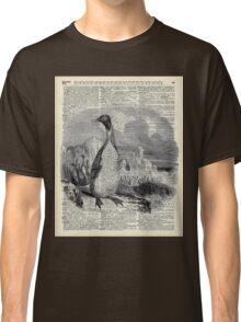 Penguin over old book page vintage illustration Classic T-Shirt