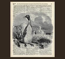 Penguin over old book page vintage illustration Unisex T-Shirt