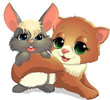 kitten and rabbit by Andryuha1981