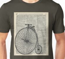 Vintage Penny Farthing bicycle,monocycle dictionary art Unisex T-Shirt