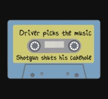 Driver Picks the Music, Shotgun Shuts His Cakehole (blue) by fangeek