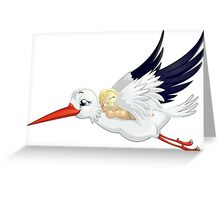 Stork with baby Greeting Card