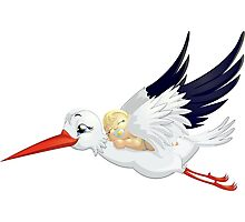 Stork with baby Photographic Print