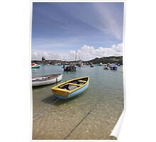 Boats in Cornwall harbour Poster