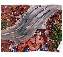Feel the falls, watercolor Poster