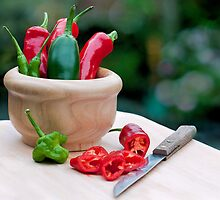 fresh chillies.. by Michelle McMahon