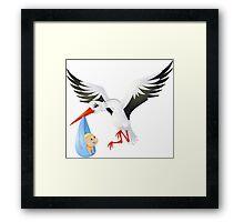Stork with baby Framed Print
