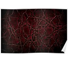 Dark creased leather texture abstract Poster