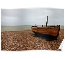 Lone boat on the shore of Dungeness Poster