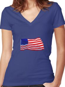 Old Glory Women's Fitted V-Neck T-Shirt