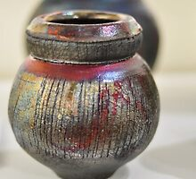 Raku fired vase by Anna Henderson