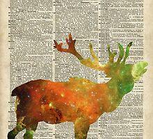 Space Reindeer Vintage Stencil Over Old Book Page by DictionaryArt