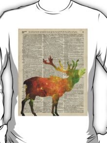 Space Reindeer Vintage Stencil Over Old Book Page T-Shirt