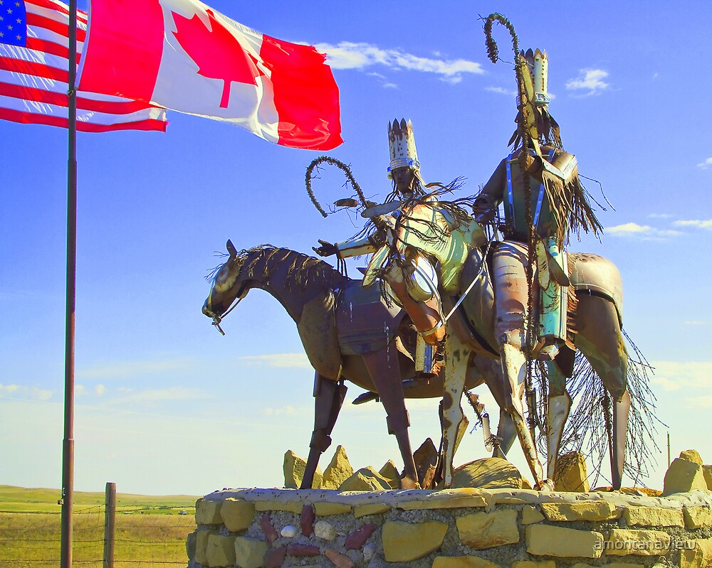 Blackfeet warriors guarding their land by amontanaview