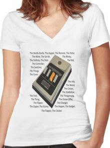 Remote Control Women's Fitted V-Neck T-Shirt