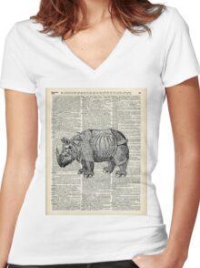 Fantasy steampunk Rhinoceros Women's Fitted V-Neck T-Shirt