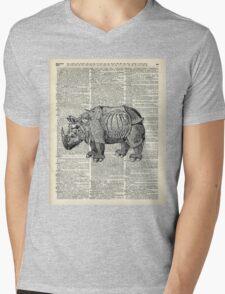 Fantasy steampunk Rhinoceros Mens V-Neck T-Shirt