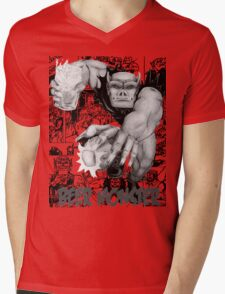 Rubbernorc Beer Monster Comic Collage Mens V-Neck T-Shirt