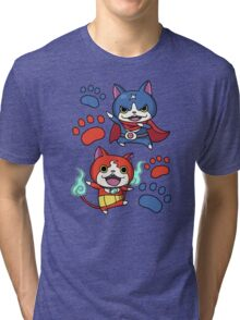 Jibanyan and Fuyunyan Tri-blend T-Shirt