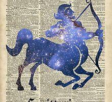 Saggitarius Archer Space Stencil Dictionary Art by DictionaryArt